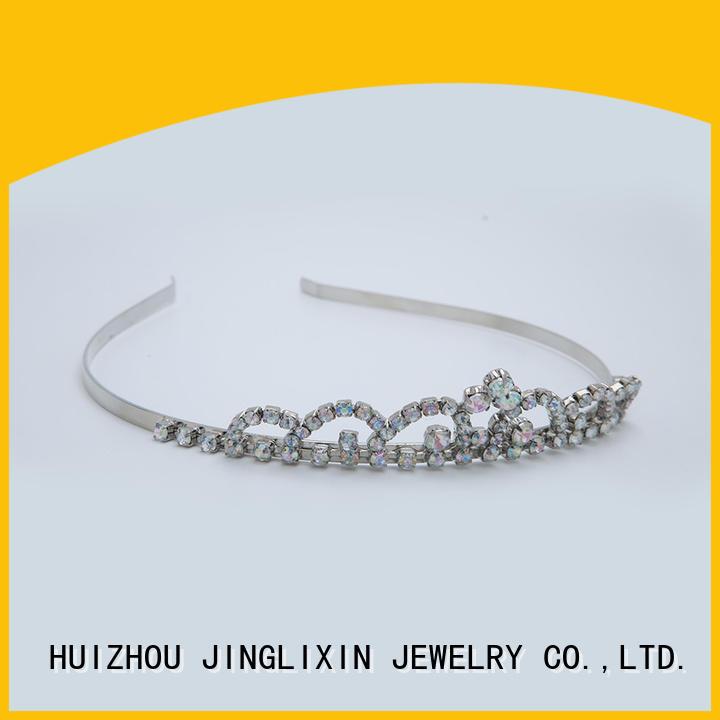 Custom fashion Czech rhinestones White steel plated headband