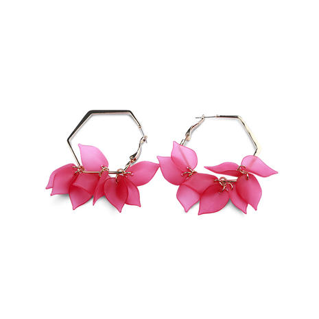 Peach flower hexagon earrings