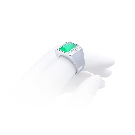 Emerald Green Square Ring