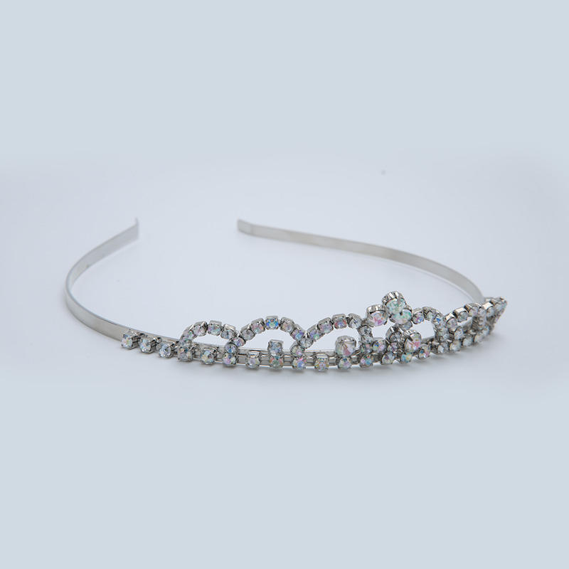 Custom fashion Czech rhinestones White steel plated headband