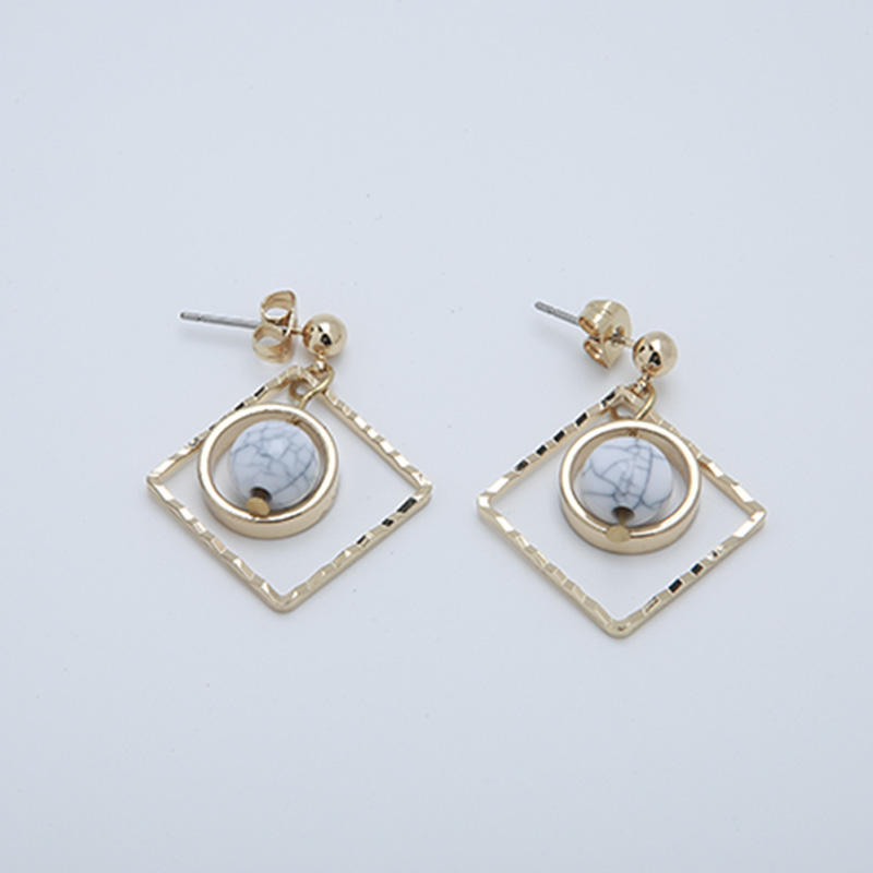Custom ABS beads gold-plated earrings