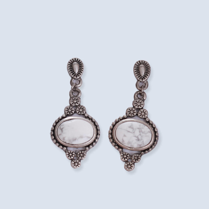 Zinc alloy resin ancient silver earrings