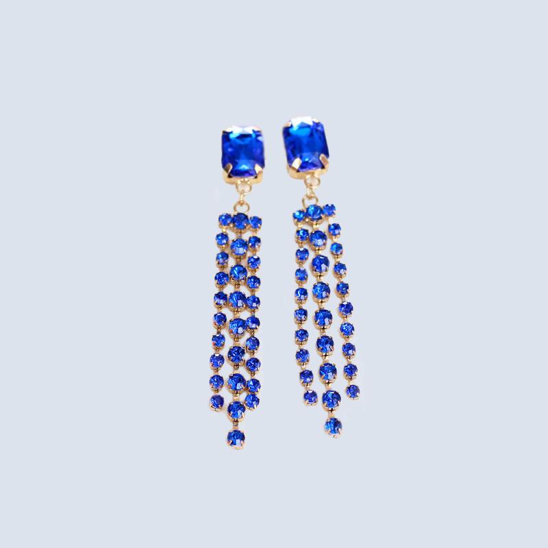 Custom crylic diamond claw chain earrings