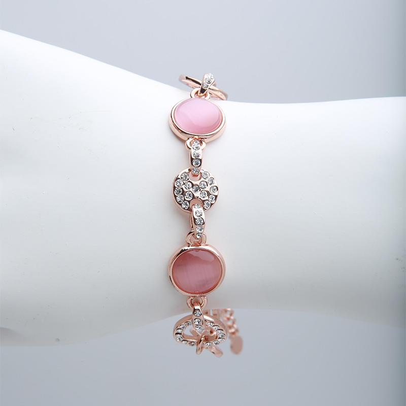 Custom rose gold Czech rhinestones opal bracelet