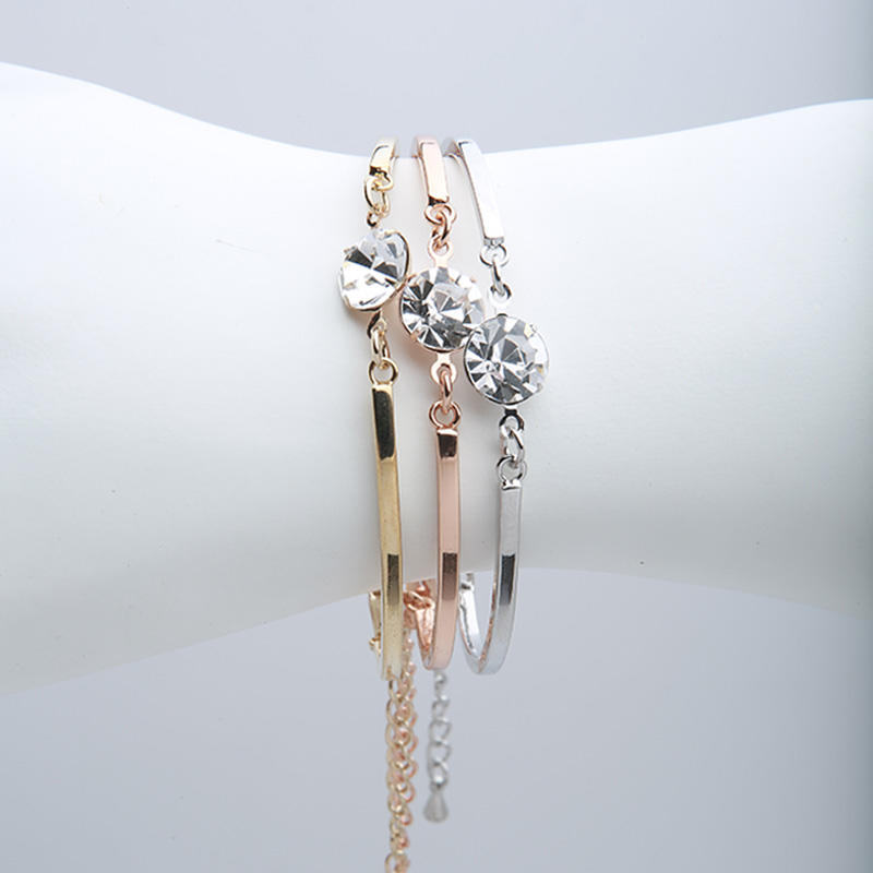 Tricolor swarovski rhinestone czech  diamond bracelet