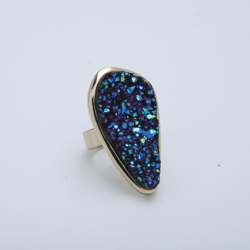 Custom blue zinc alloy ore ring for sale