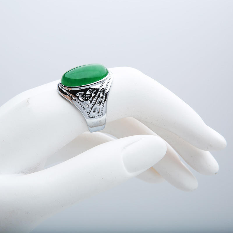 Custom reality white gold jadeite emerald male ring