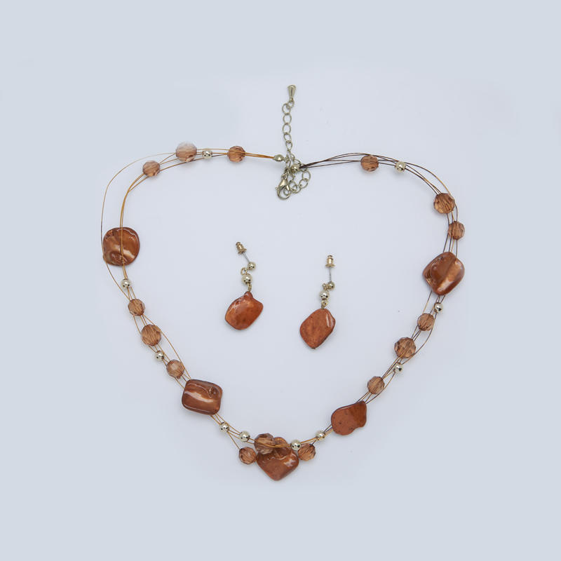 Gold plated shell-material hardware jewelry set