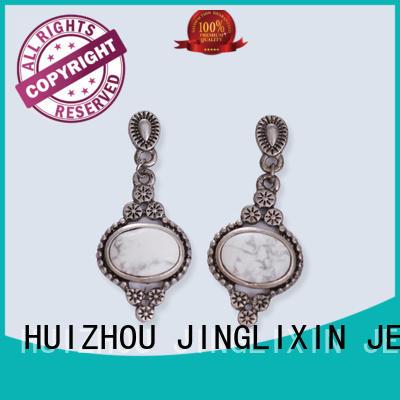 JINGLIXIN Brand steel czech crylic custom rhinestones earrings