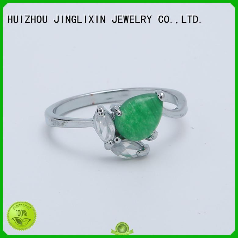 JINGLIXIN Brand zinc resin alloy custom ring gemstone