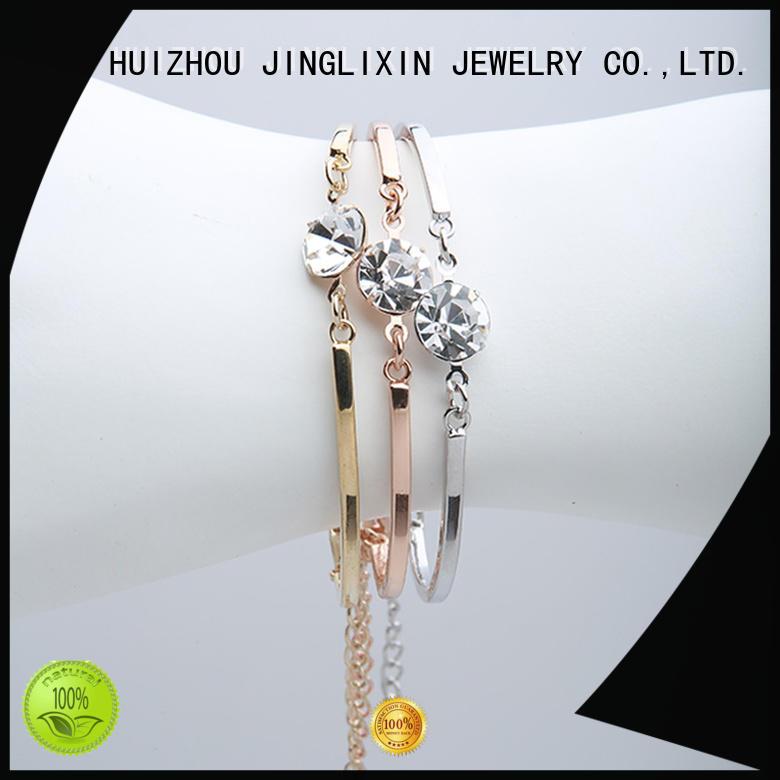 rhinestone custom bracelets for her oem service for ladies JINGLIXIN