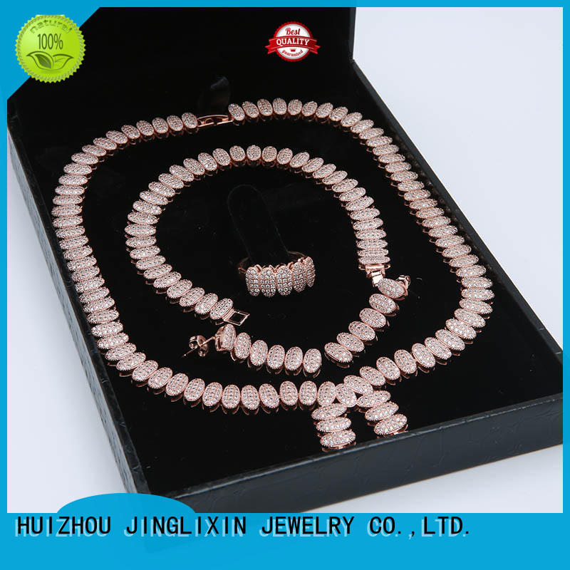 zircon bridal jewelry sets laser engraving for present JINGLIXIN