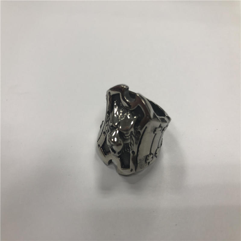 Silver lion head Skull punk ring