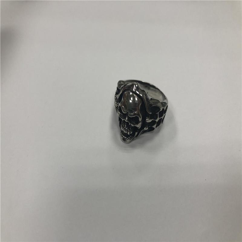 Religious totem stainless steel skull ring