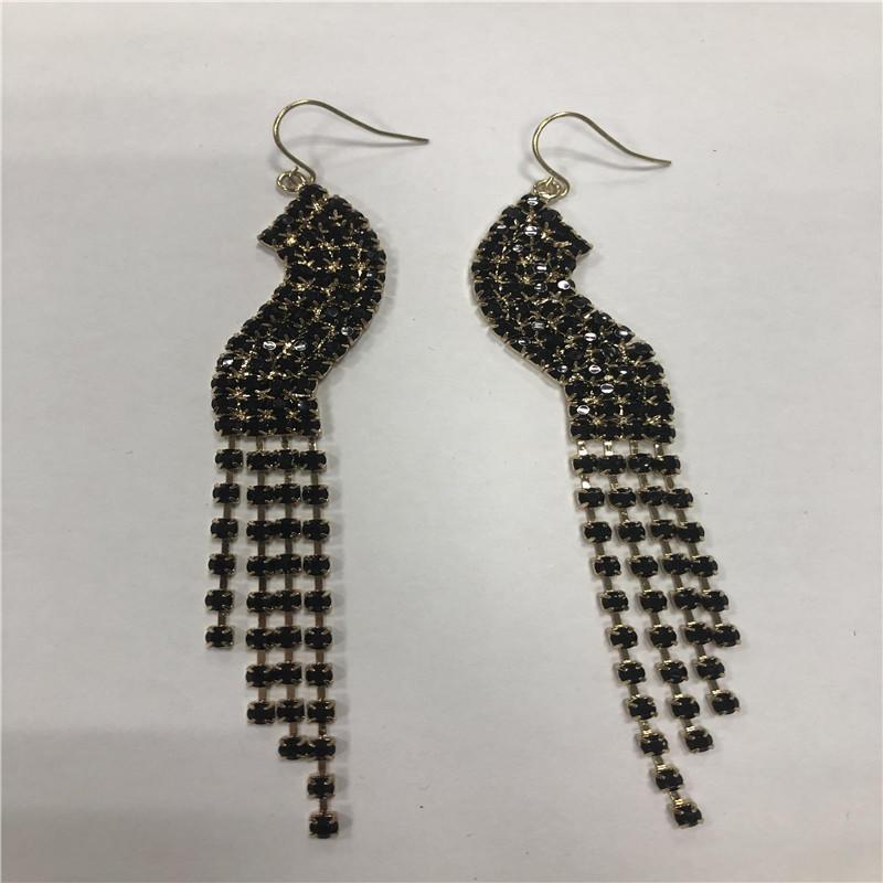 Black fishhook pendant earrings