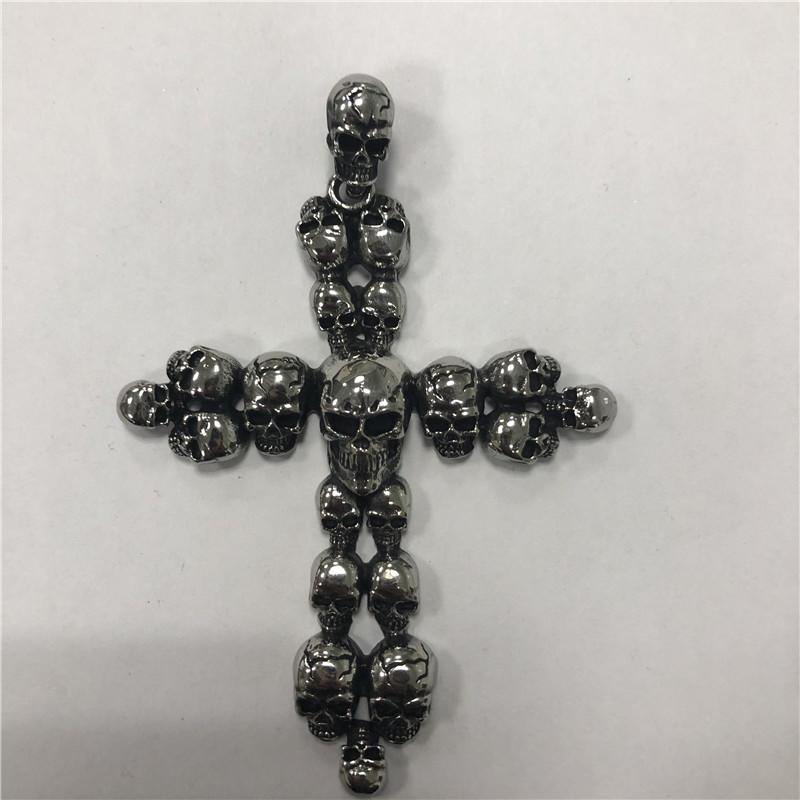 Skeleton cross stainless steel pendant