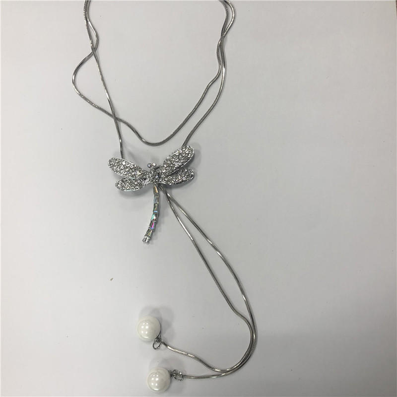 Long autumn and winter sweater chain set diamond dragonfly drop pendant