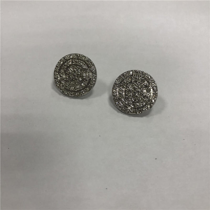 Exquisite micro copper zircon button earrings diy accessories, wholesale