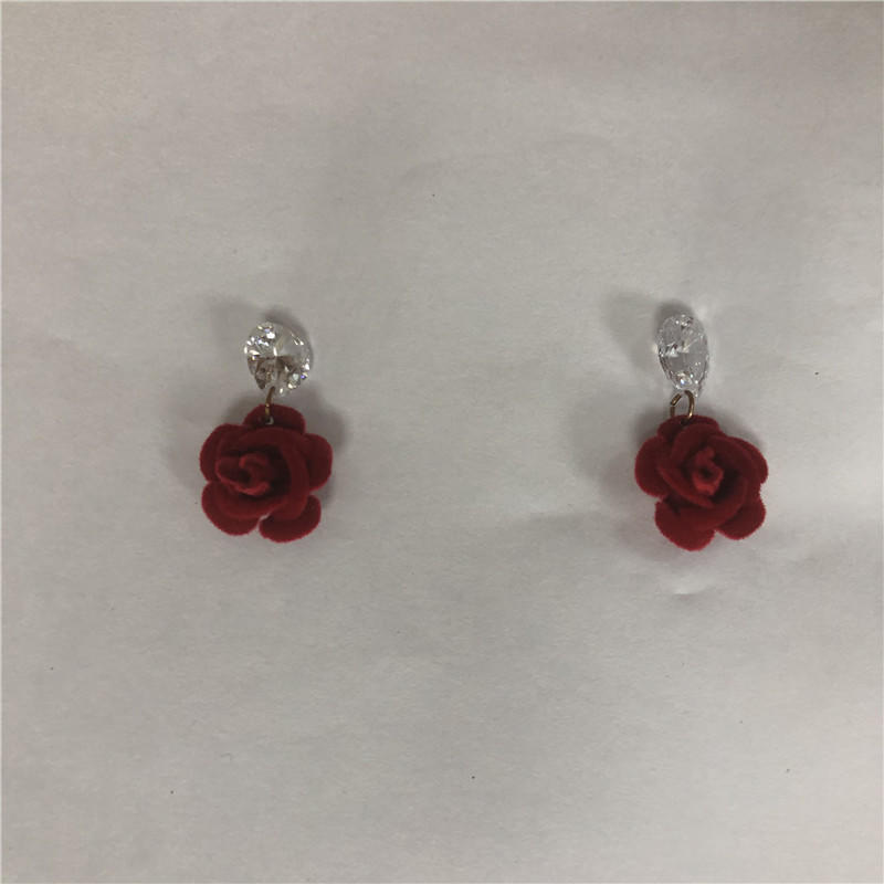 Fashionable flower flocking jewel stud