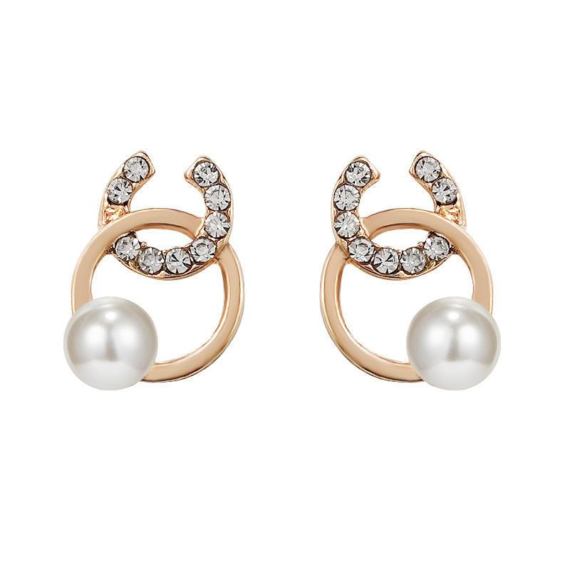 Zinc alloy pearl earrings
