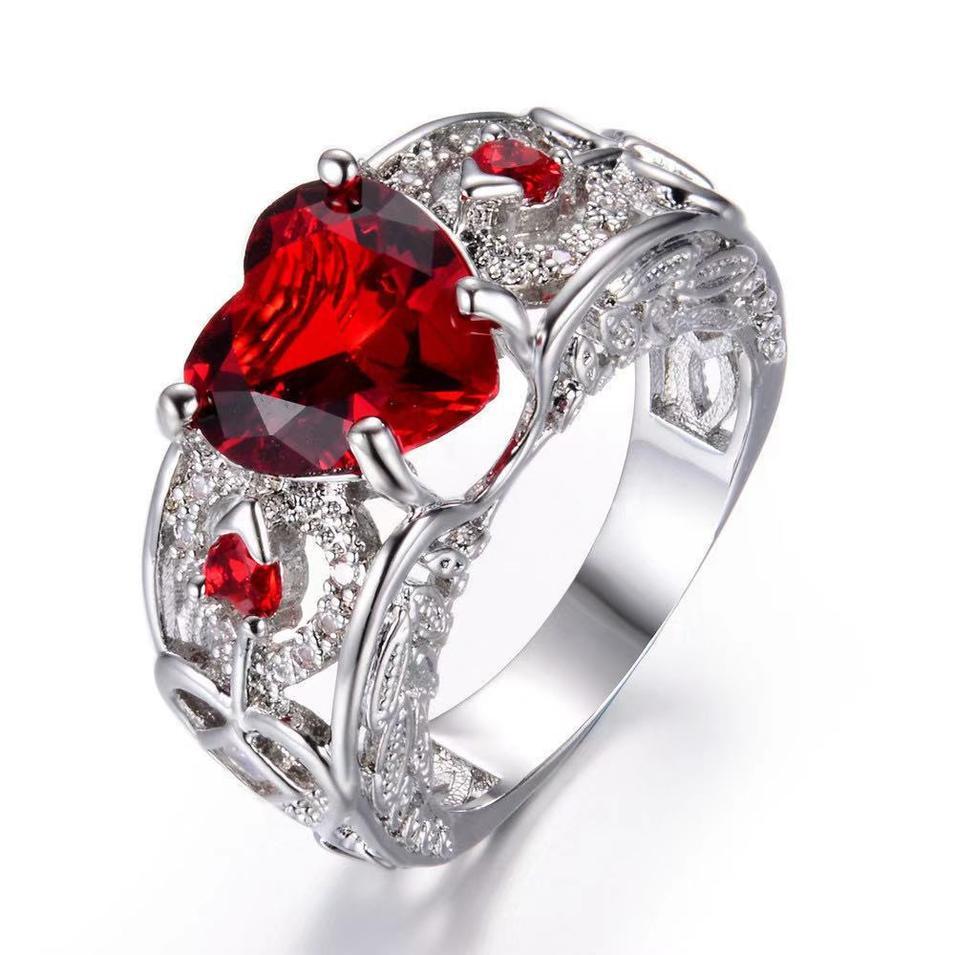 Heart ruby zinc alloy ring