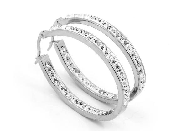Stainless steel jack-diamond earrings