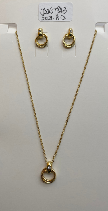 O-shaped necklace and earrings set