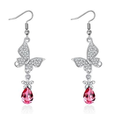 Stainless steel pink zircon earrings