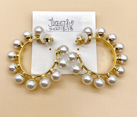 Zinc alloy rubber bead earrings