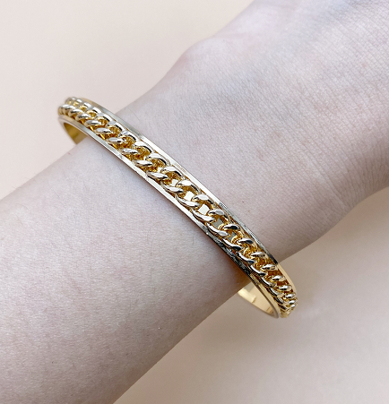 Bronze and gold chain bracelet