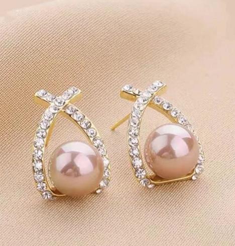 Pink glue bead earrings