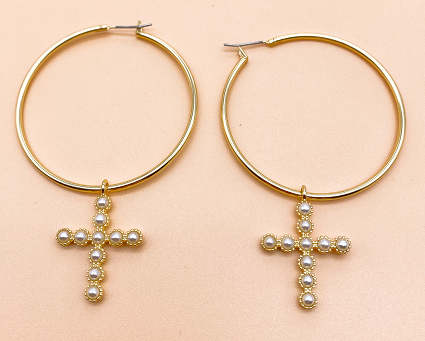 Circular rubber bead earrings