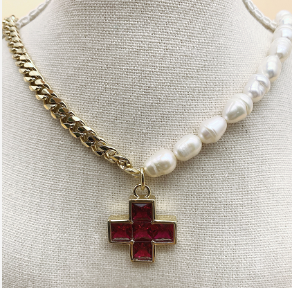 Cross necklace with glue beads