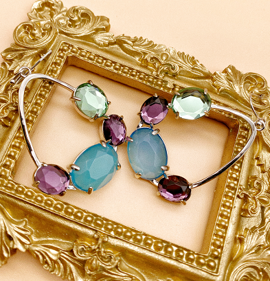 Colored glass earrings